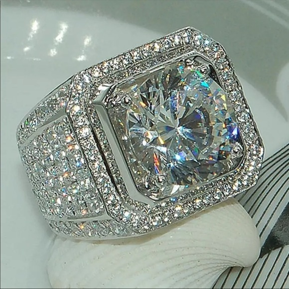 NEW* Men silver solitaire icy bling rock ring